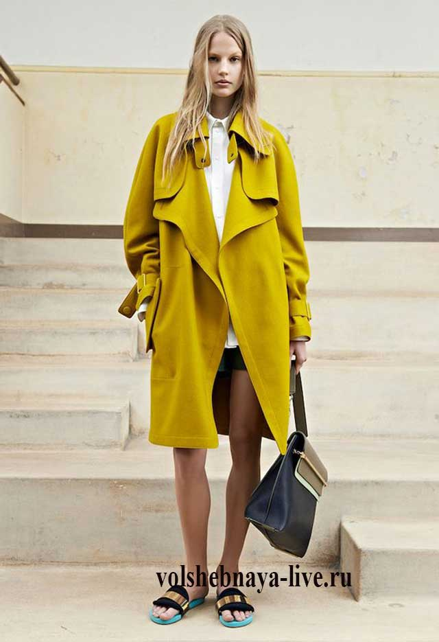 Горчично - желтое пальто ниже колена