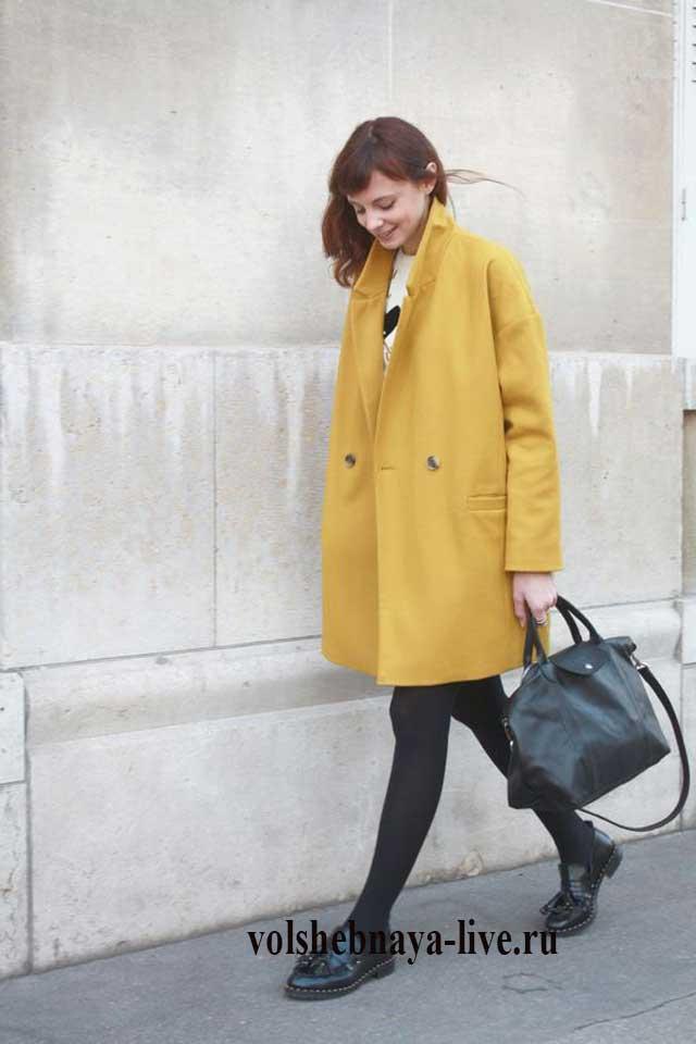Стильный образ с пальто горчичного цвета