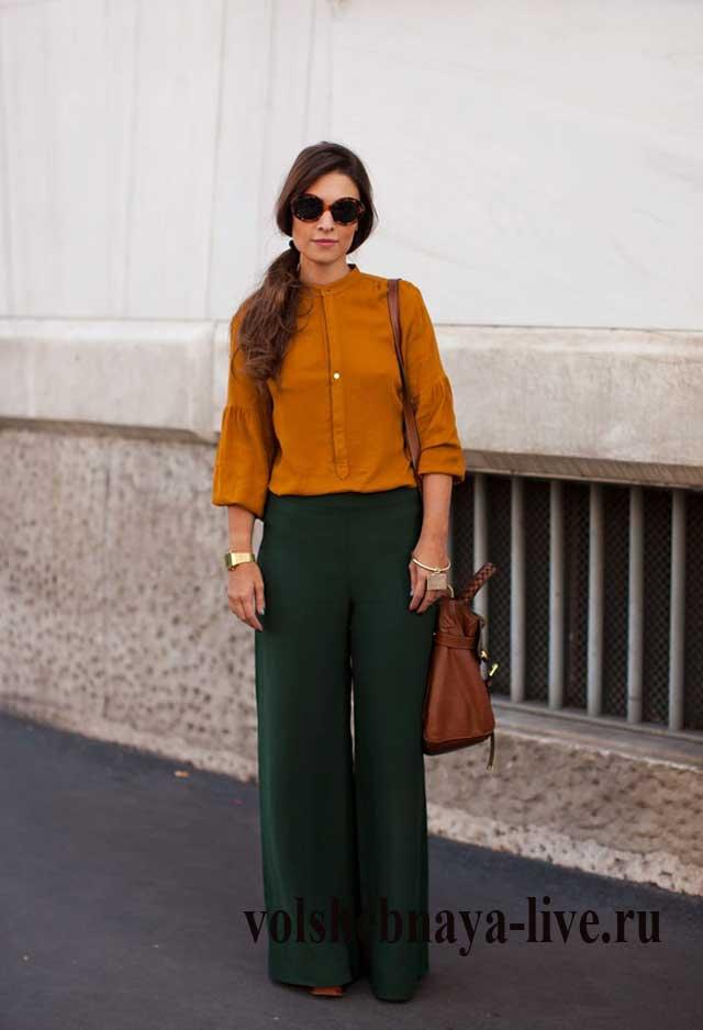 Сочетание горчичного и зеленого в одежде