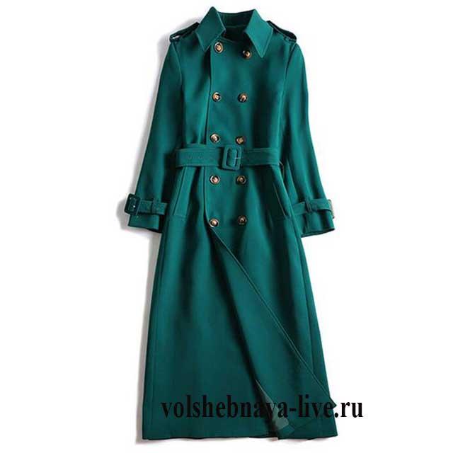 Двубортное пальто макси длины изумрудного цвета