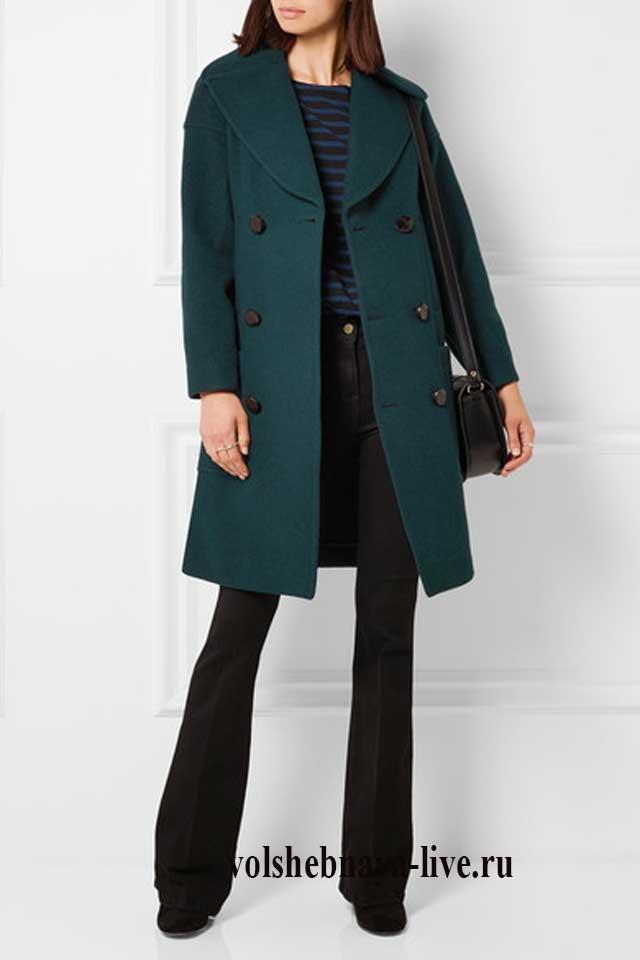 Лук с брюками и темно зеленым пальто