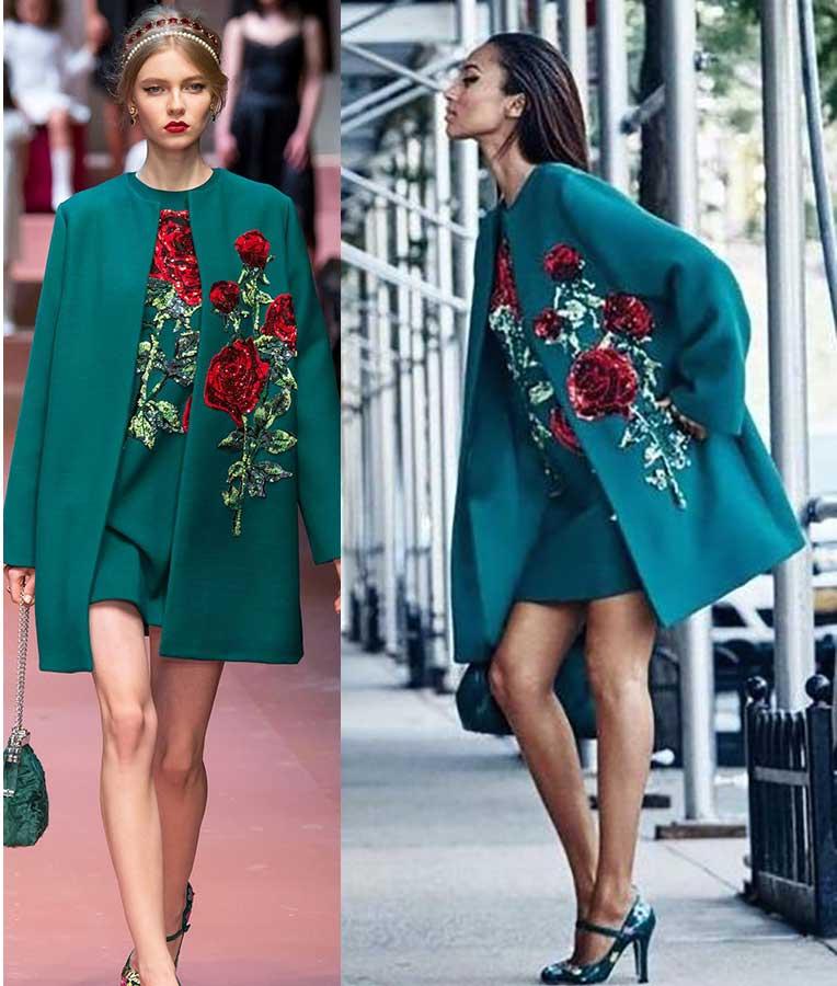 Пальто зеленого цвета с вышивкой