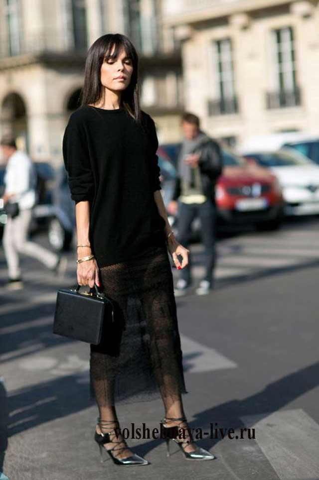 Черный джемпер плюс черная юбка из кружева