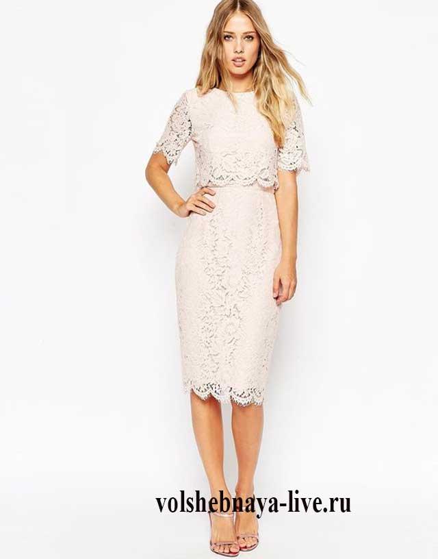 Белая кружевная юбка карандаш
