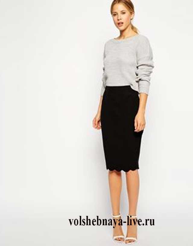Кружевная юбка со свитером серого цвета