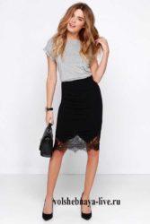 Черная юбка карандаш из трикотажа с кружевом по низу