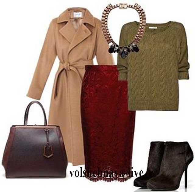 Бордовый цвет кружевной юбки