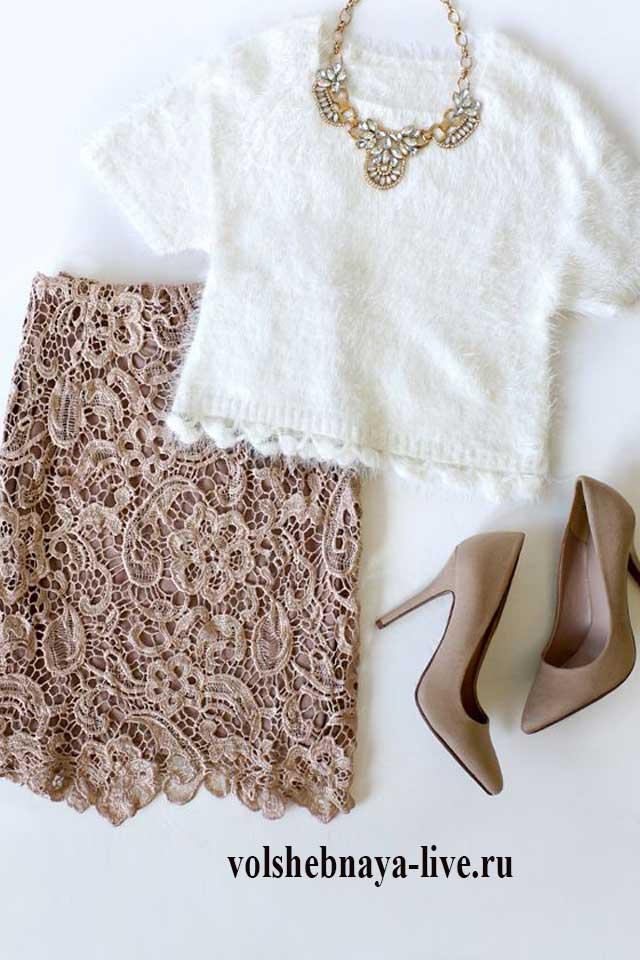 Кофейная юбка с белым свитером