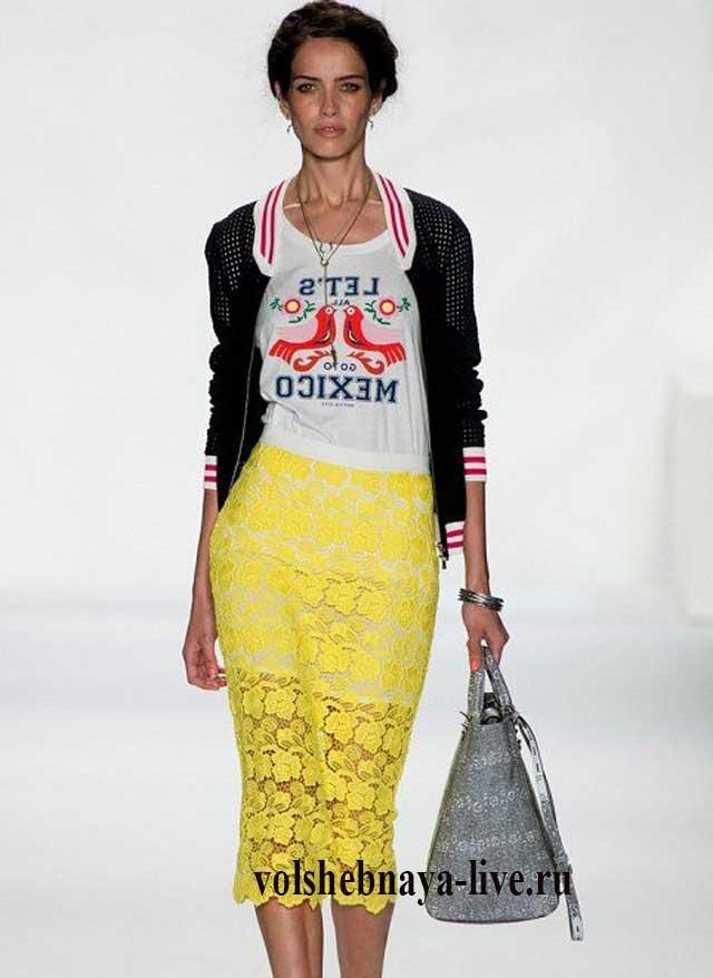 Желтая кружевная юбка