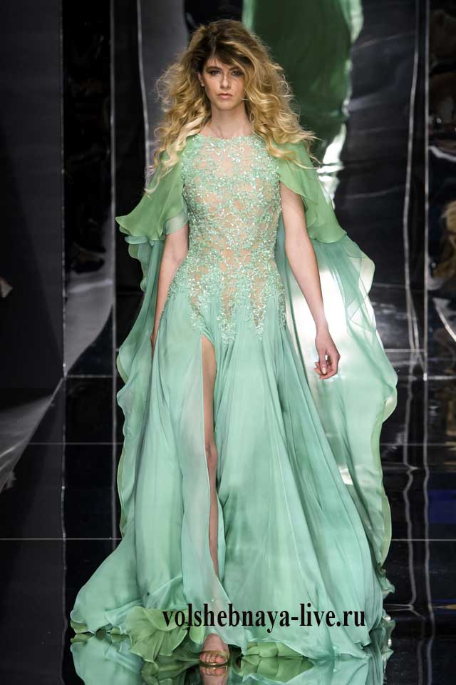 Платье мятного цвета кутюрный показ