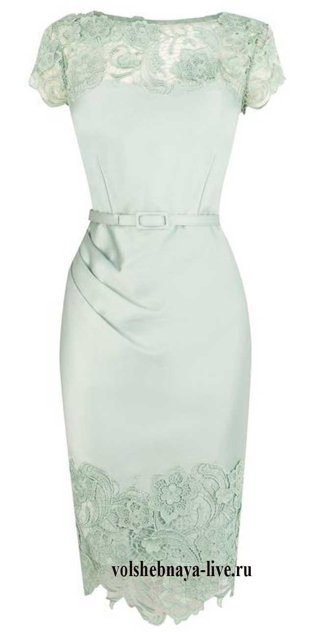 мятное платье футляр