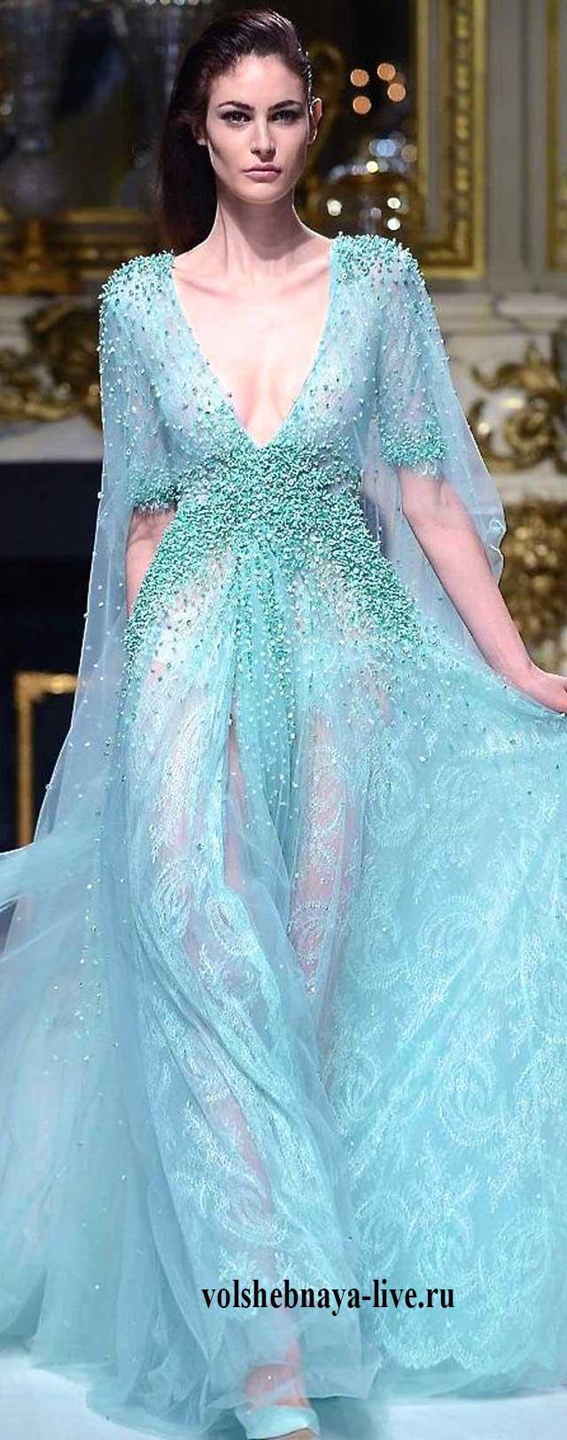 Показ Зухаир Мурада .Платье мятного цвета