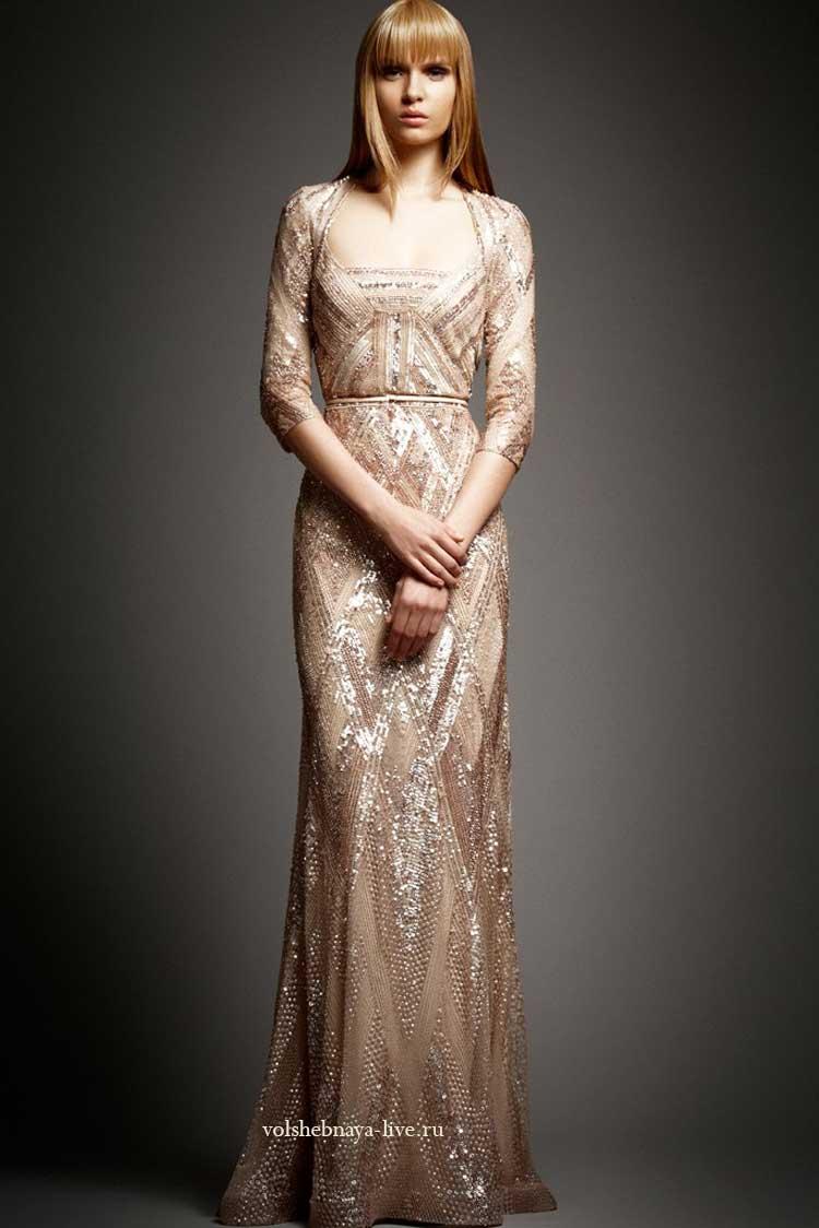 Вечернее платье нюдовое в пайетках