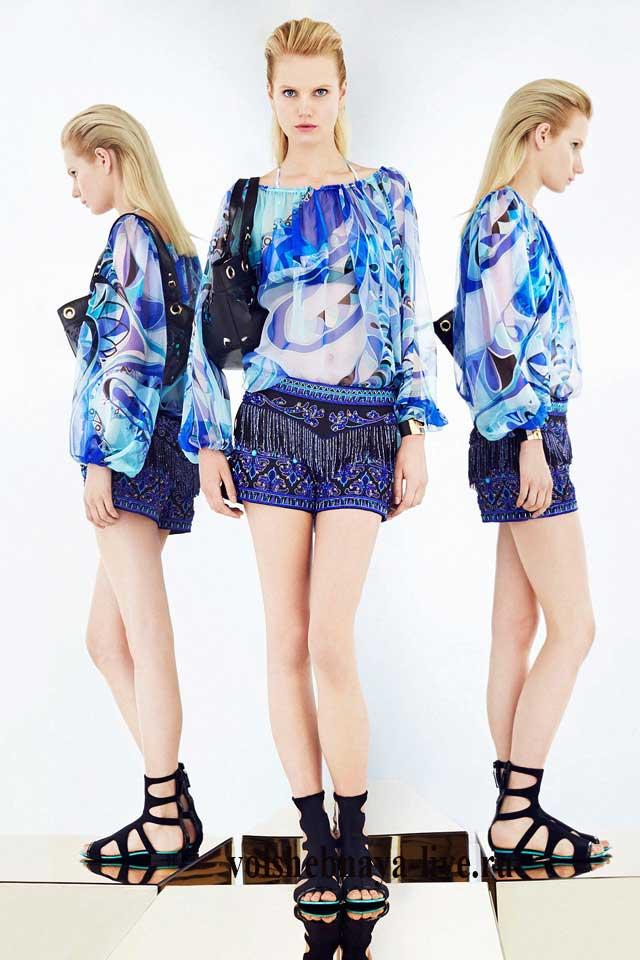 Синие блестящие шорты