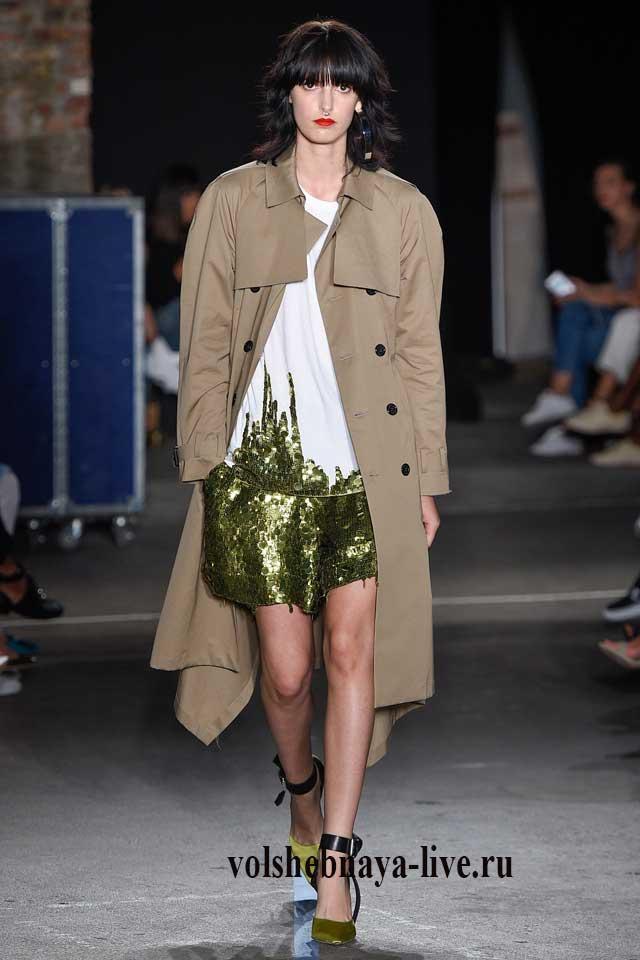 Защитные шорты из паеток под песочное пальто