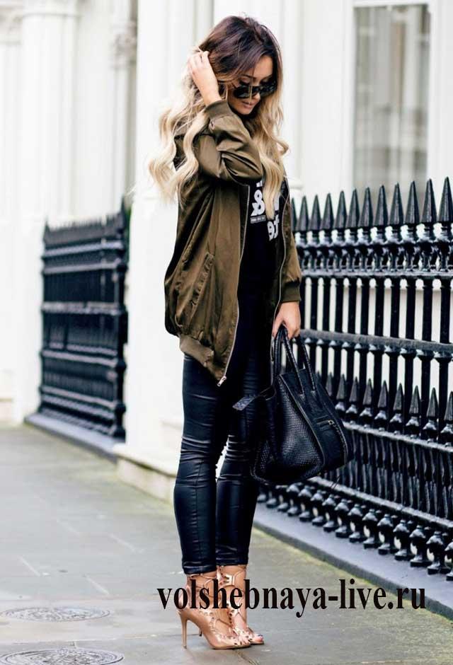 Сочетание хаки и черного в одежде
