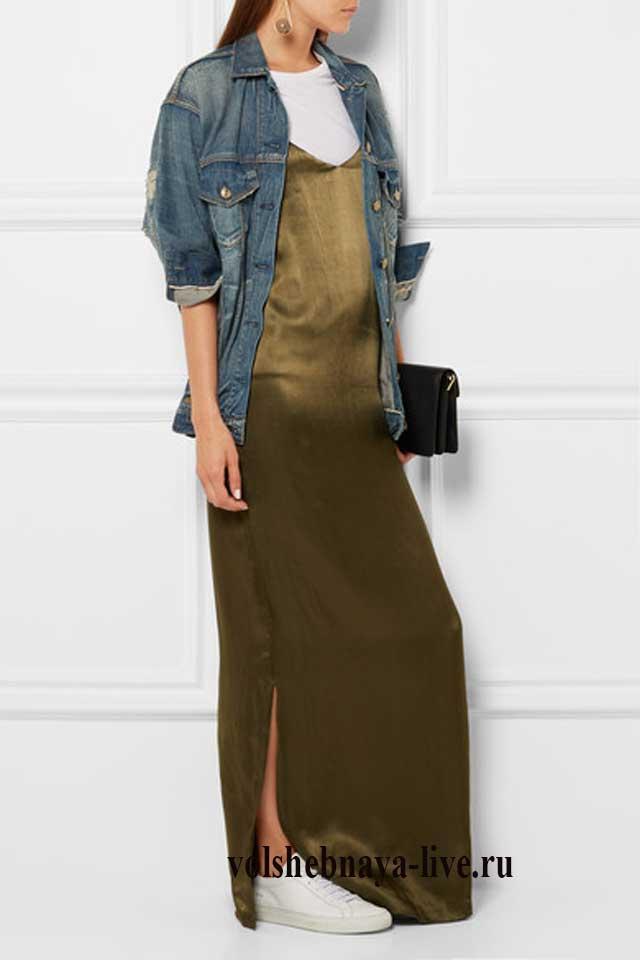 Атласное платье комбинация цвета хаки