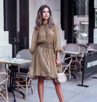 Образ с шифоновым платьем цвета хаки от Анабель Флер