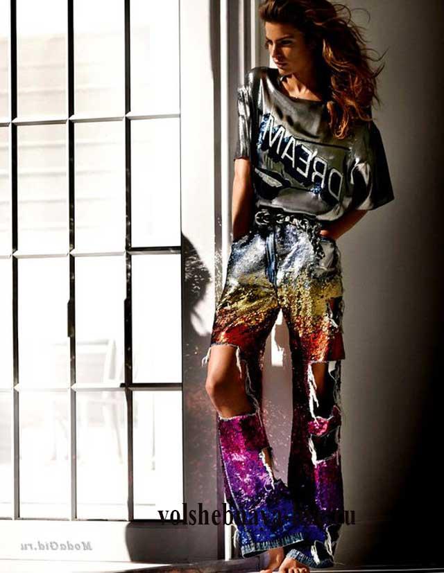 Радужные джинсы в блестках