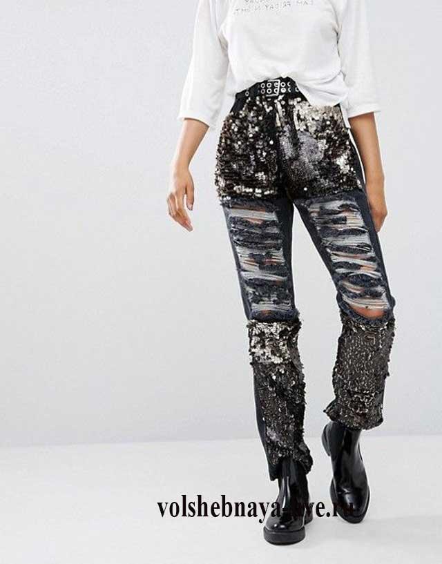 Черные джинсы с пайетками женские