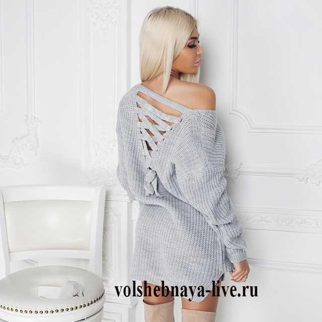 Серый свитер со шнуровкой на спине