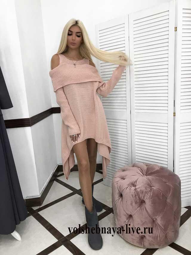 Розовое платье вязка