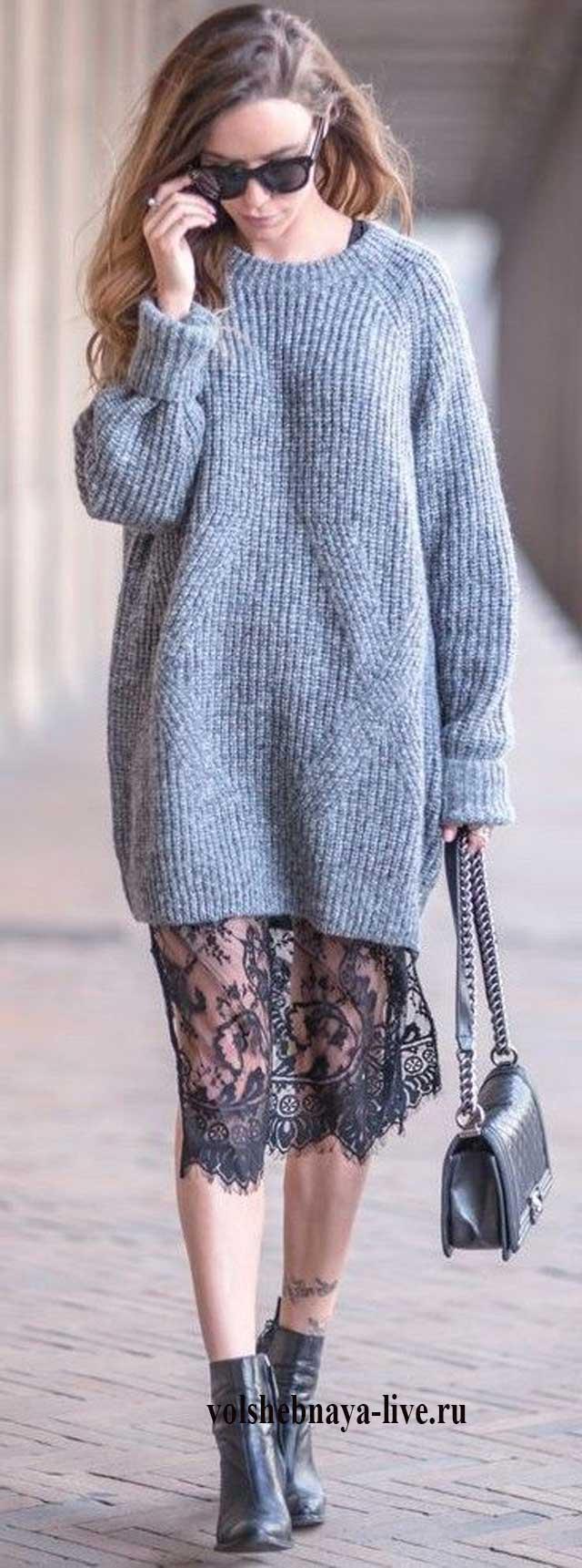 Свитер платье с кружевом по низу
