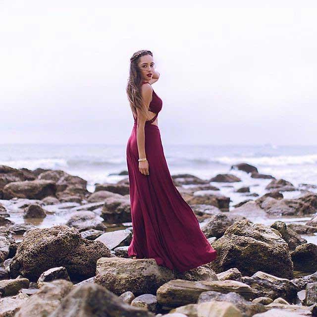 Платье марсала в пол