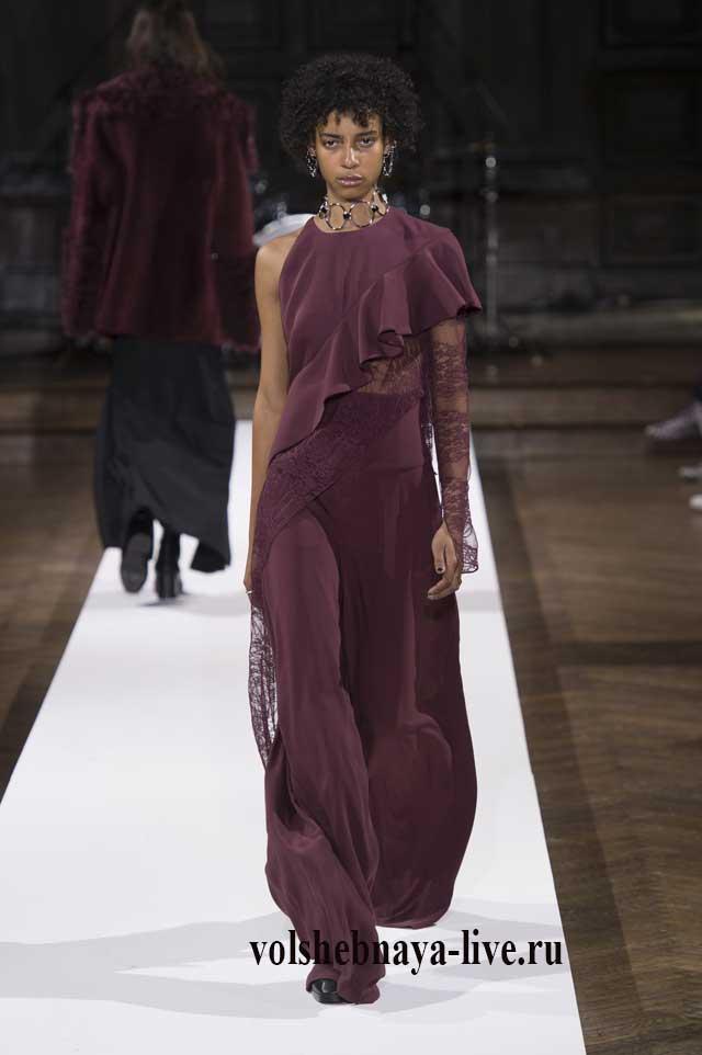 Платье в пол цвета марсала на одно плечо