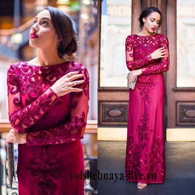 Рубиново бордовое платье в пол из атласа