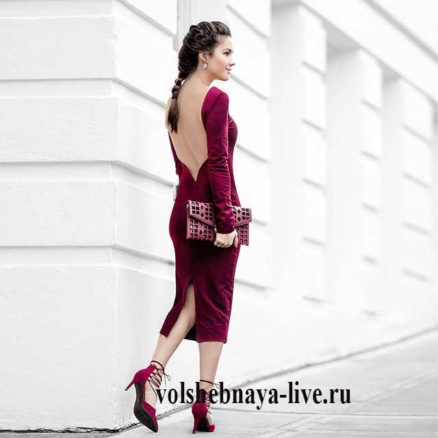 1c604421299 Платье цвета марсала. Стильные фото модных образов в платьях винного ...