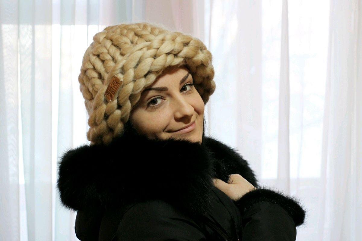 женская шапка из пряжи хельсинки
