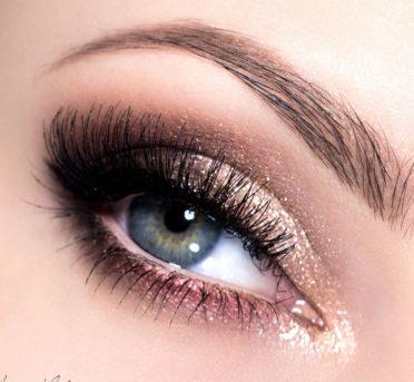 дневной макияж нависшее веко коричнево золотой
