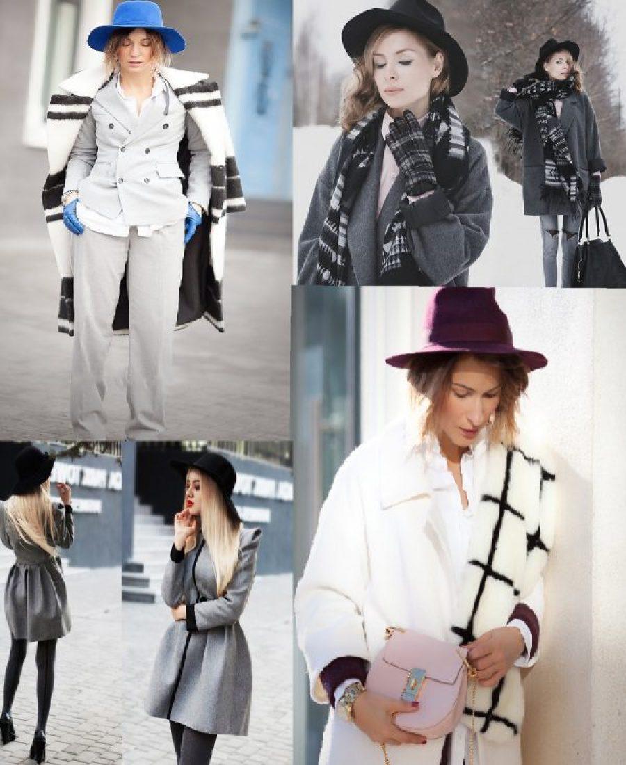 Образ пальто и шляпа модные зарисовки.
