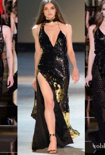 Черное платье в пол с пайетками ослепительно!