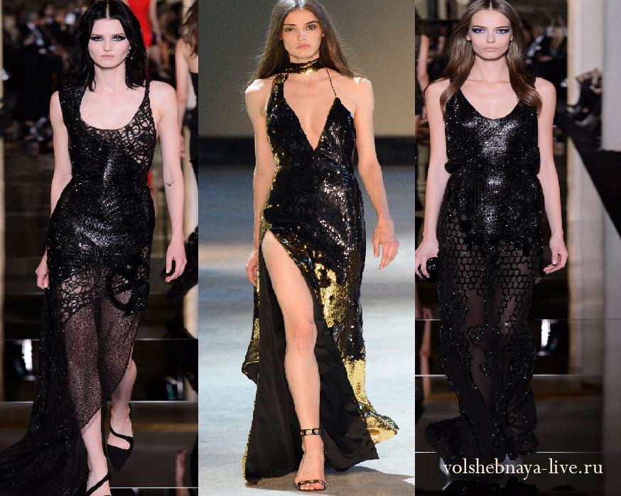 черное платье в пол с пайетками
