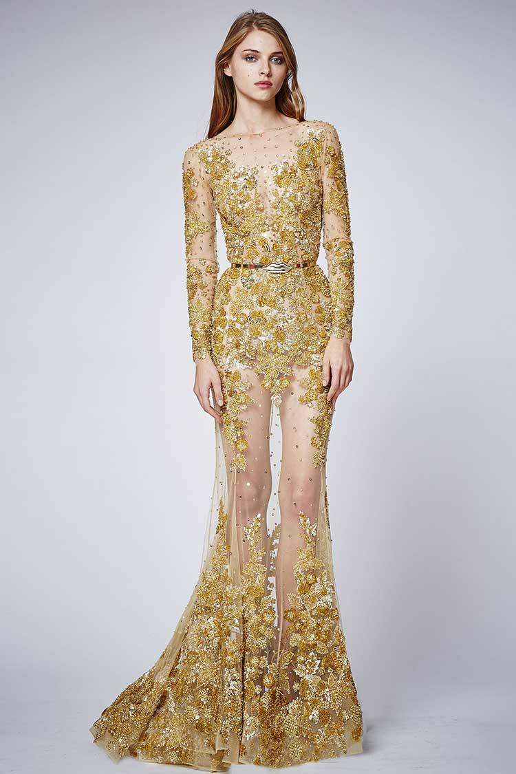 Платье золотого цвета паетки
