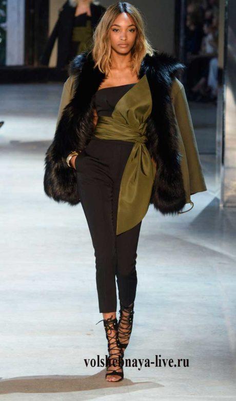 Модное сочетание хаки с черным зима 2018