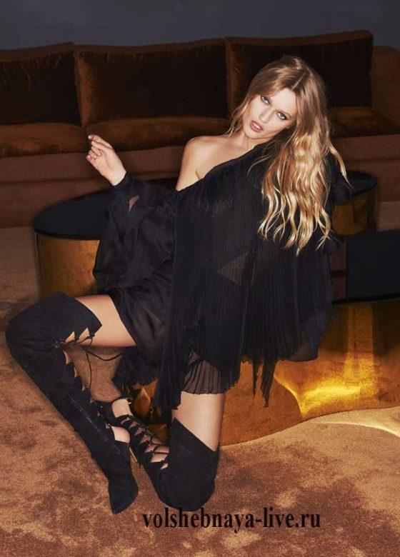 Прозрачное, черное шифоновое мини платье от Александра Вотье