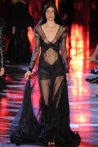 Черное, прозрачное платье в пол от Alexandre Vauthie зима 2017