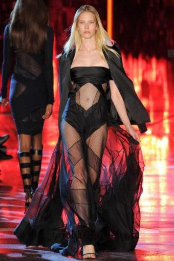 Черное прозрачное платье Alexandre Vauthie зима 2017