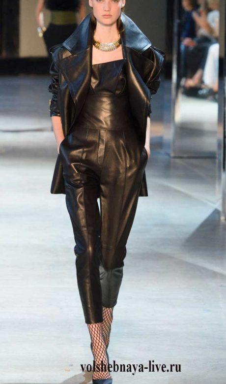 Alexandre Vauthier Haute Couture комплект с плащом и комбинезоном из натуральной кожи.