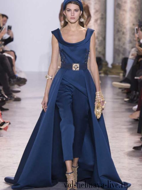 Синий комбинезон Elie Saab Haute Couture Весна-лето 2017