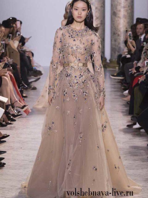 Платье в пол с юбкой из тафты, цвета тауп