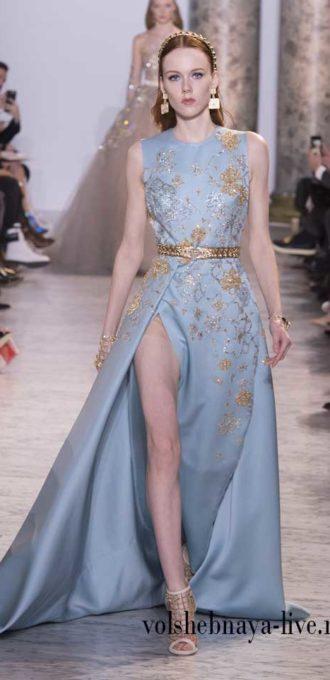 Платье вечернее в пол голубого цвета, коллекция Сааб