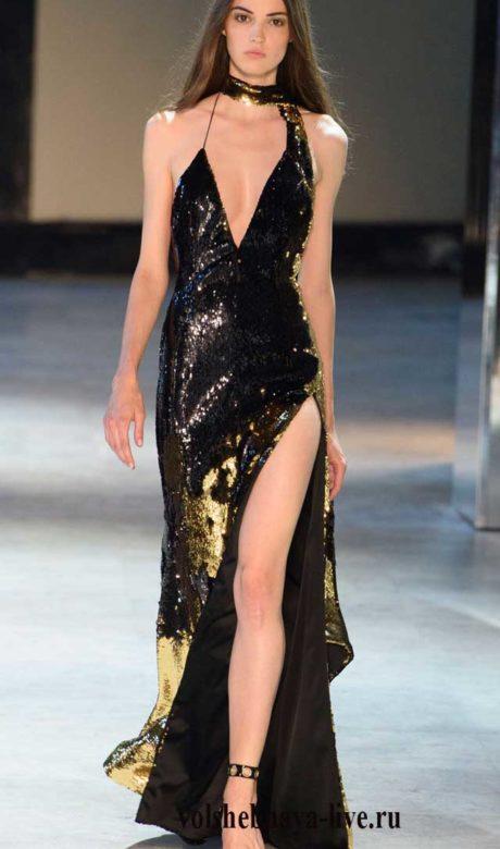 Черное с золотом платье в пайетках. Александр Вотье, зима 2017