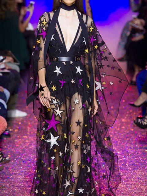 Роскошное прозрачное платье в пол со звездами 2017