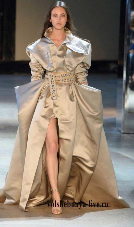 vauthier Платье из сатина в пол с пышной юбкой, цвета беж.