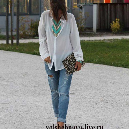 Леопардовые туфли и сумка под рваные джинсы