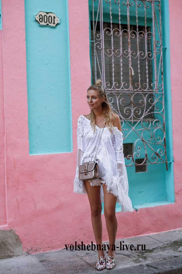 7f026f1654c Летнее платье с открытыми плечами из белого кружева - volshebnaya-live